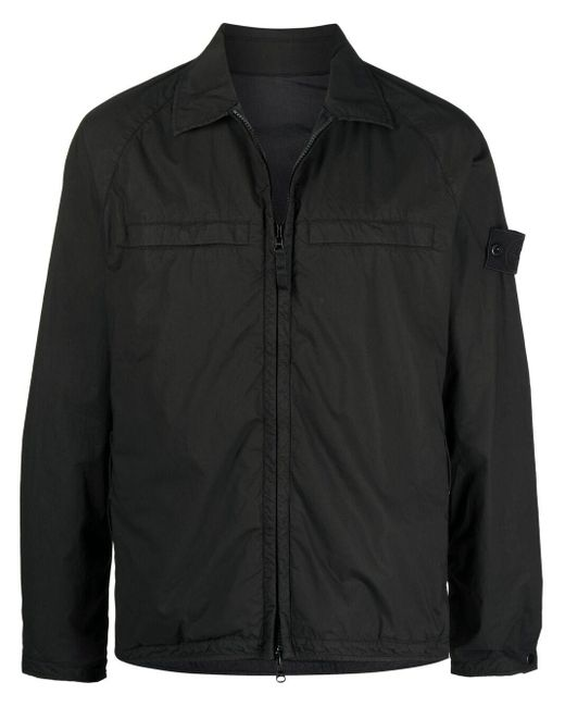 Куртка-рубашка С Нашивкой-логотипом Stone Island для него, цвет: Black