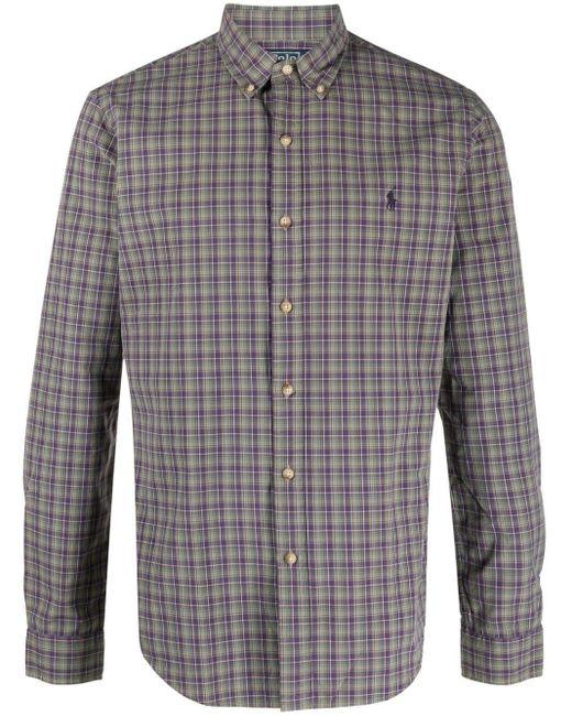 メンズ Polo Ralph Lauren チェック シャツ Purple