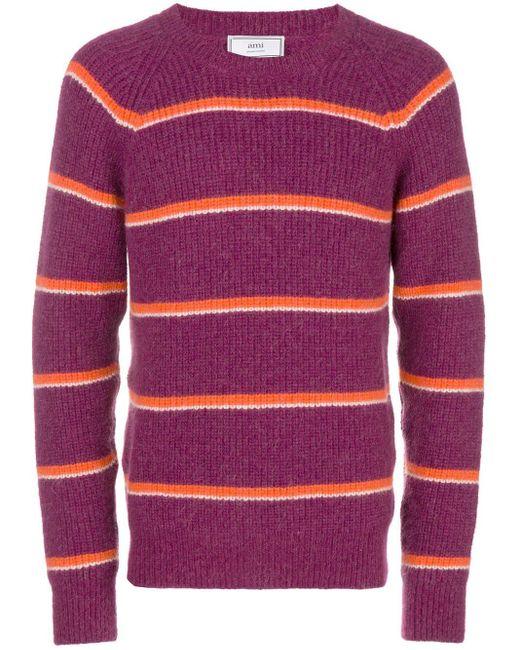 メンズ AMI ボーダー クルーネック セーター Pink
