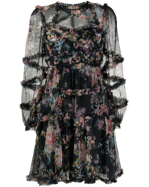 Needle & Thread フローラル ラッフル ドレス Black
