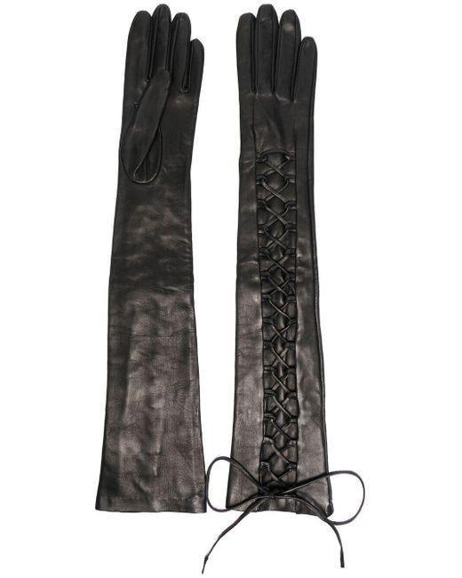 Gants longs à lacets Manokhi en coloris Black