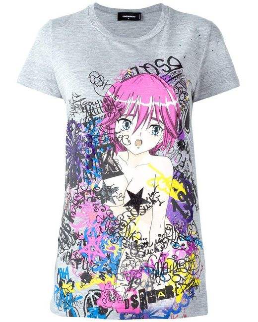 DSquared² - Gray Graffiti Print Cartoon T-shirt - Lyst