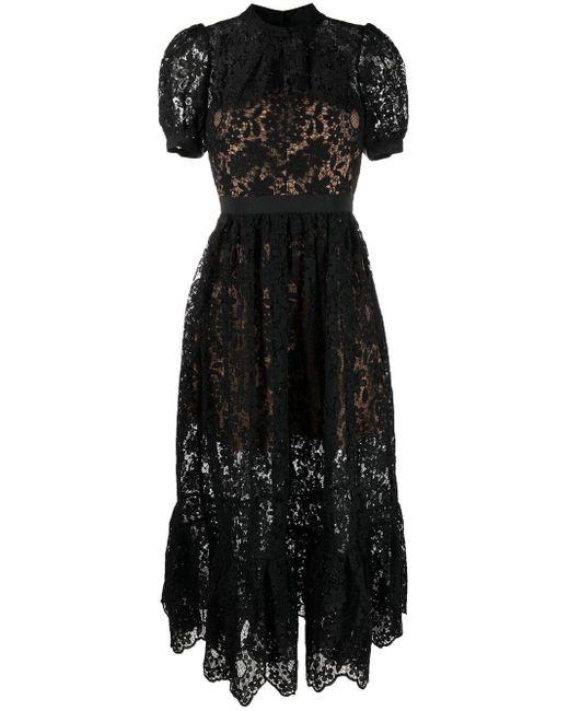 Robe mi-longue en dentelle Self-Portrait en coloris Black