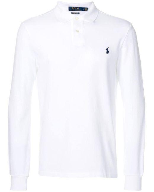 メンズ Polo Ralph Lauren ロングスリーブ ポロシャツ White