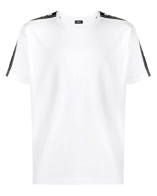 メンズ DIESEL サイド ストライプ Tシャツ White