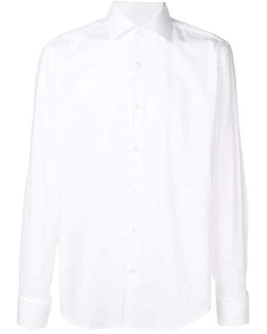 メンズ BOSS ポインテッドカラー シャツ White