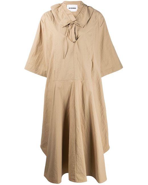 Robe oversize à col volanté Jil Sander en coloris Brown