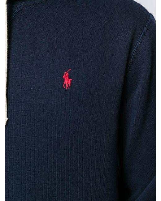 メンズ Polo Ralph Lauren ロゴ ドローストリング パーカー Blue