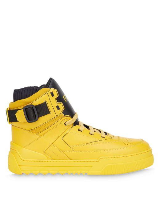 メンズ Fendi ロゴ ハイカットスニーカー Yellow