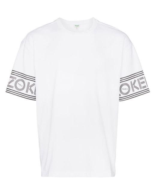 メンズ KENZO ロゴトリム Tシャツ White