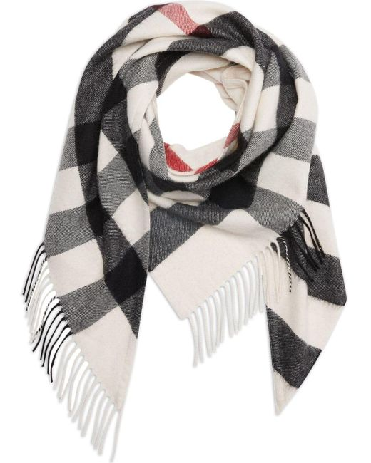 Burberry White The Bandana In Check Cashmere
