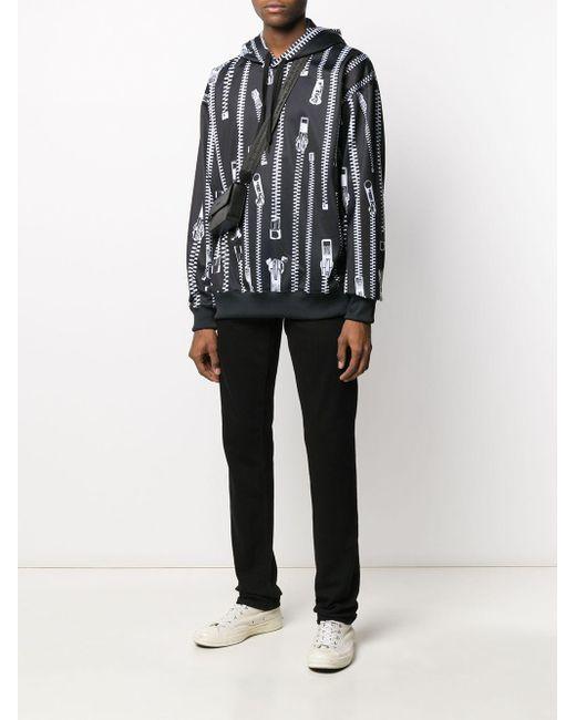 Sweat imprimé à capuche Moschino pour homme en coloris Black