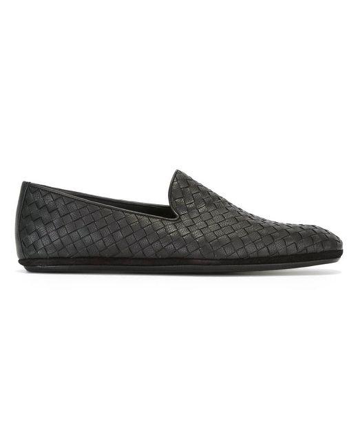 Bottega Veneta - Black - Woven Slippers - Men - Leather - 43.5 for Men - Lyst