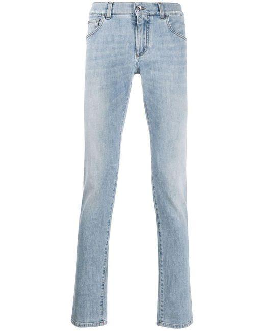 メンズ Dolce & Gabbana ストーンウォッシュ ストレートジーンズ Blue