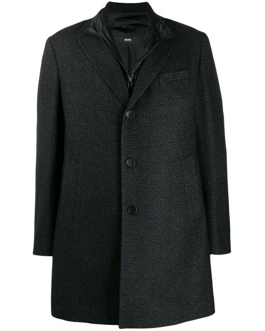 Manteau à design superposé BOSS by Hugo Boss pour homme en coloris Black