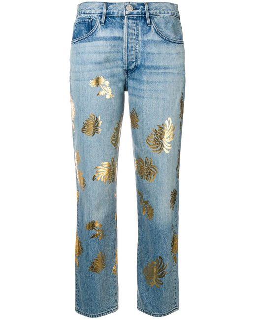 3x1 Blue Flower Print Jeans