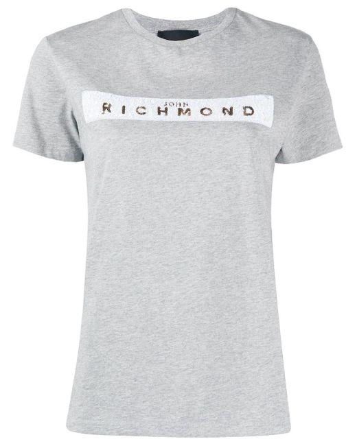 John Richmond スパンコールロゴ Tシャツ Gray