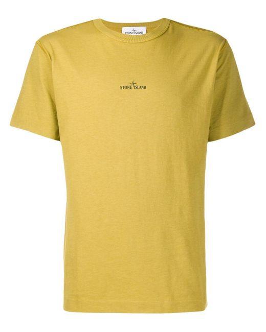 メンズ Stone Island ロゴ Tシャツ Yellow