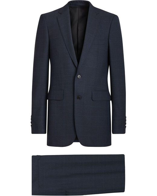 Burberry - Blue Modern Fit Check Wool Three-piece Suit for Men - Lyst