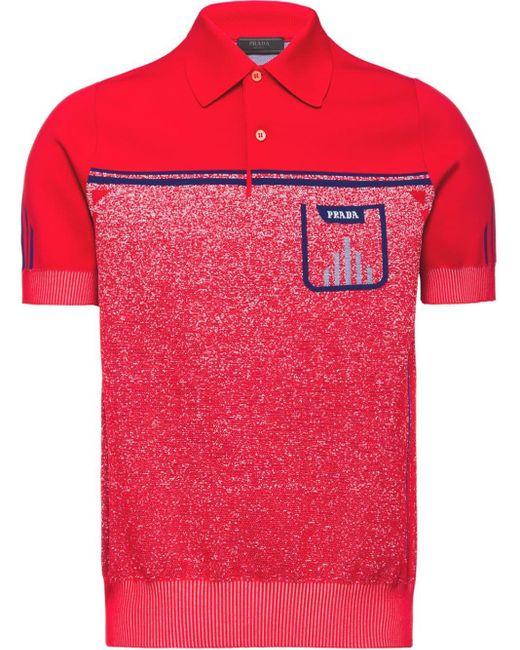 メンズ Prada テクニカル ポロシャツ Red
