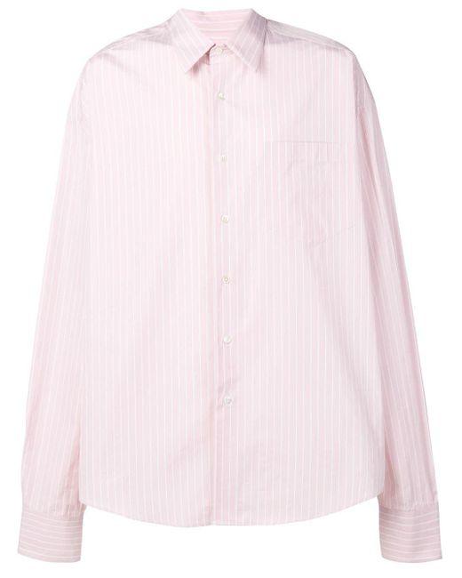 メンズ AMI Oversize Long Sleeve Shirt With Chest Pocket Pink