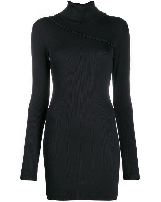 ROTATE BIRGER CHRISTENSEN Turtleneck Fitted Mini Dress Black