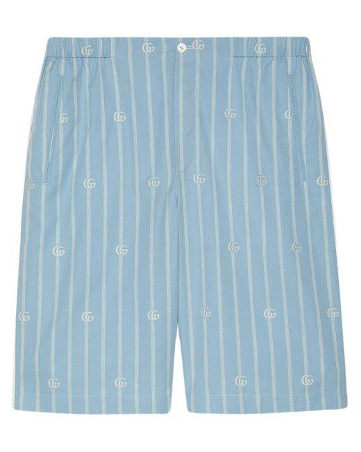 メンズ Gucci 【公式】 (グッチ)ダブルg ストライプ コットン ショートパンツライトブルー&アイボリーブルー Blue