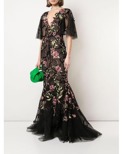 Marchesa Black Sheer Floral Gown