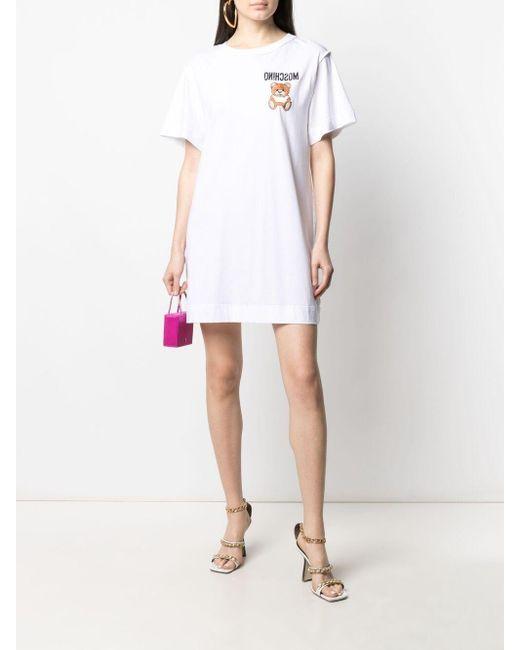 Платье-футболка С Вышивкой Teddy Bear Moschino, цвет: White