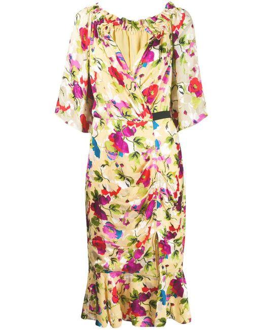 Платье-трапеция С Цветочным Принтом Saloni, цвет: Yellow