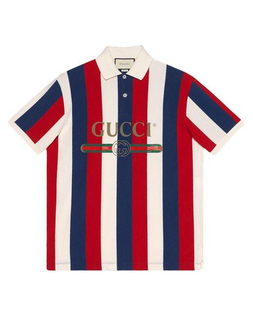 メンズ Gucci ストライプ ポロシャツ Red