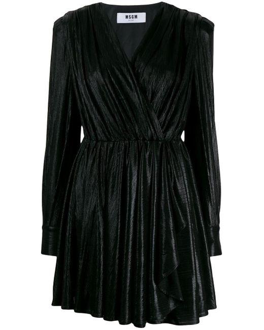 MSGM Vネック ドレス Black