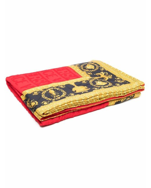 Versace Red Baroque-print Beach Towel