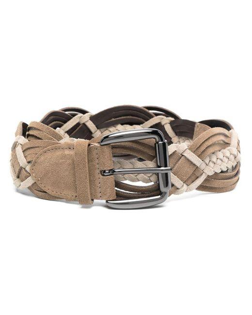 Alberta Ferretti Brown Braided Woven Belt