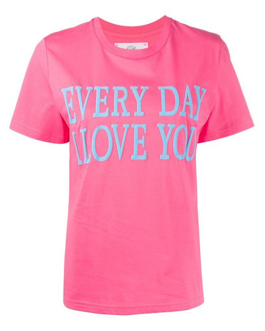 Alberta Ferretti Camiseta de manga corta con eslogan de mujer de color rosa 53AcQ