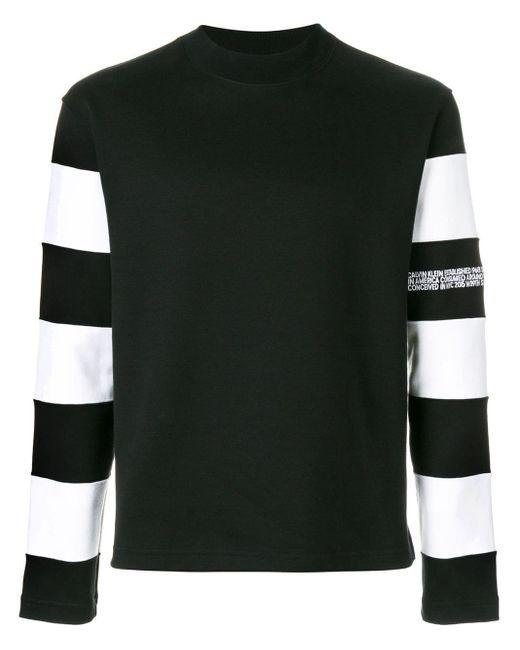 メンズ CALVIN KLEIN 205W39NYC ボーダースリーブ スウェットシャツ Black