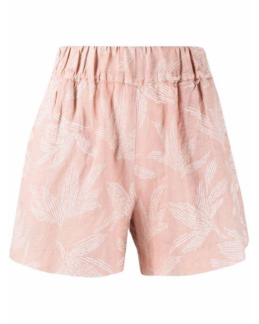 Shorts con stampa di 120% Lino in Pink