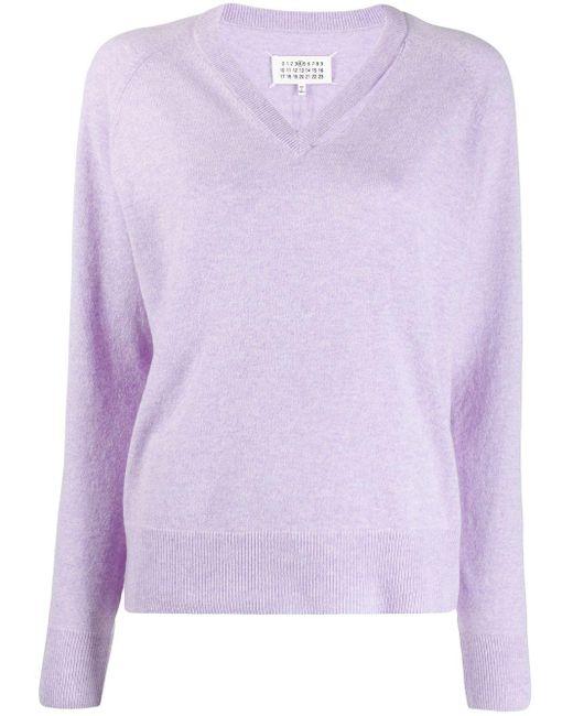 Maison Margiela Vネック セーター Purple