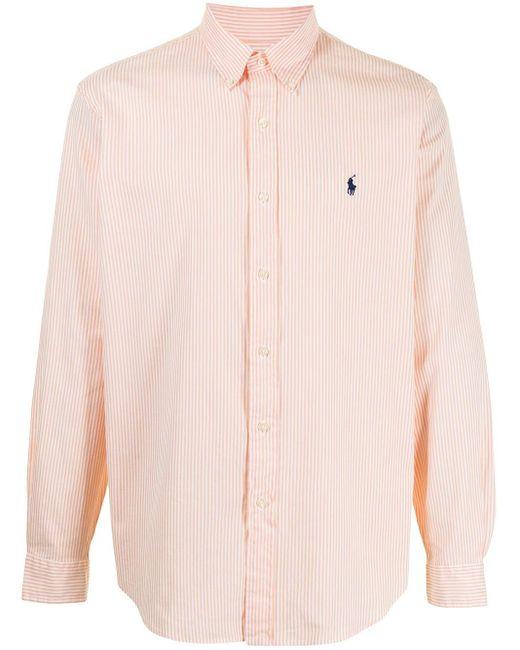 メンズ Polo Ralph Lauren Pony ストライプ ロゴ シャツ Orange