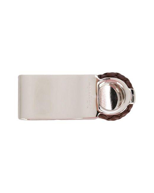 Плетеный Зажим Для Денег Ferragamo для него, цвет: Metallic