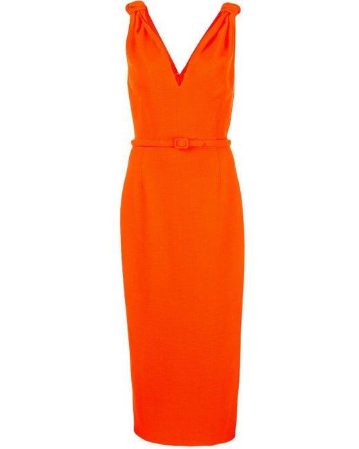 Oscar de la Renta ベルテッド ドレス Orange