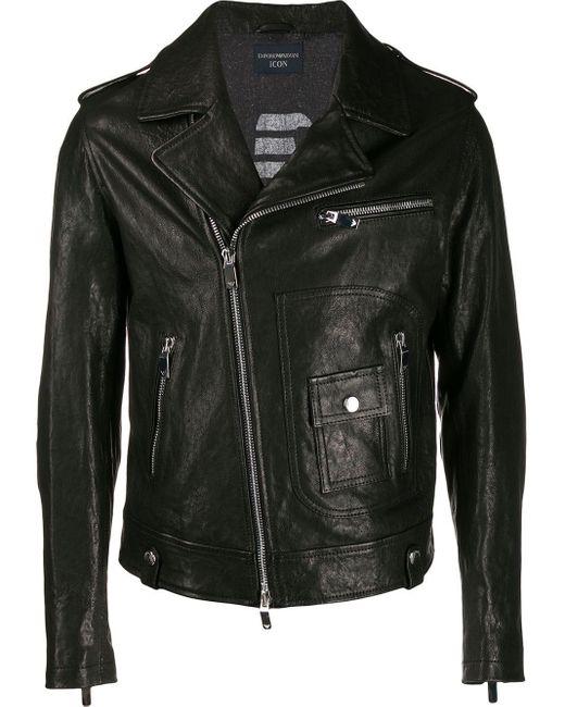 メンズ Emporio Armani ライダースジャケット Black
