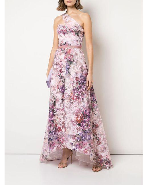 Marchesa notte フローラル ワンショルダー ドレス Pink