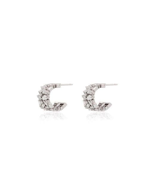 Boucles d'oreilles en or blanc 18ct ornées de diamants Suzanne Kalan en coloris Metallic