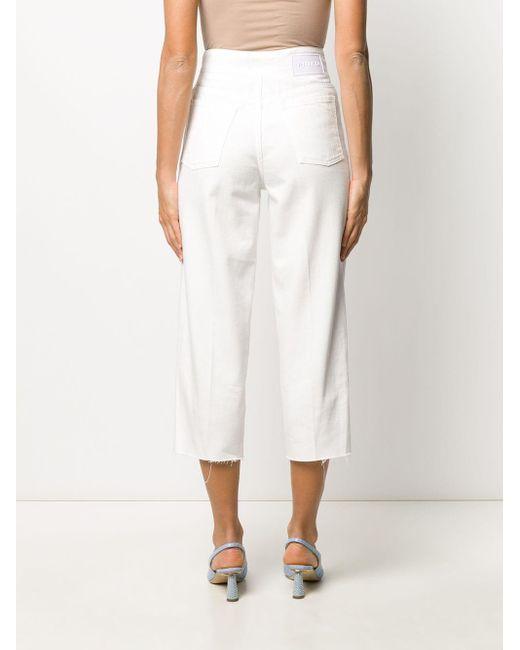 Jean crop à taille ceinturée Pinko en coloris White