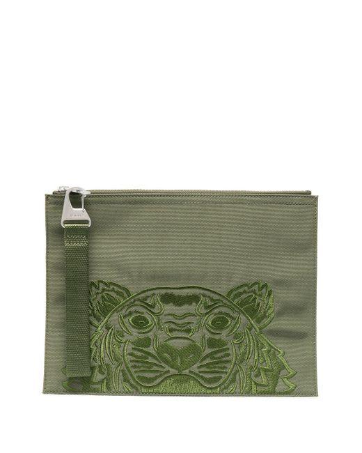 メンズ KENZO ロゴ クラッチバッグ Green