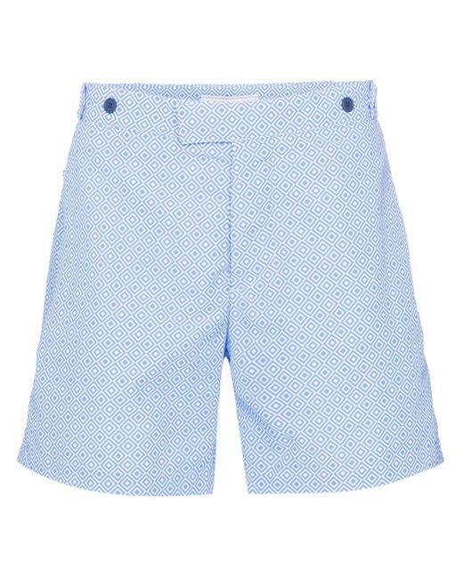 Frescobol Carioca Blue Angra Print Swim Shorts for men