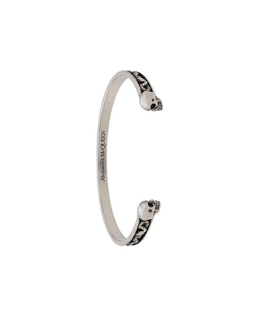 Alexander McQueen Metallic Twin Skull Bracelet for men