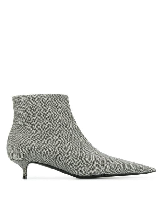 Balenciaga Gray Knife Checked Wool Ankle Boots