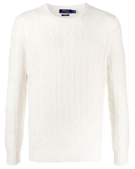 メンズ Polo Ralph Lauren カシミア ケーブルニット セーター White